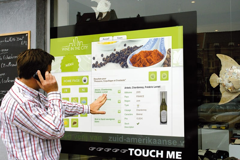 Vitrine tactile interactive point de vente