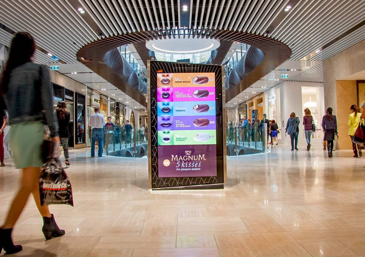 Digital Instore Signage affichage dynamique centre commercial