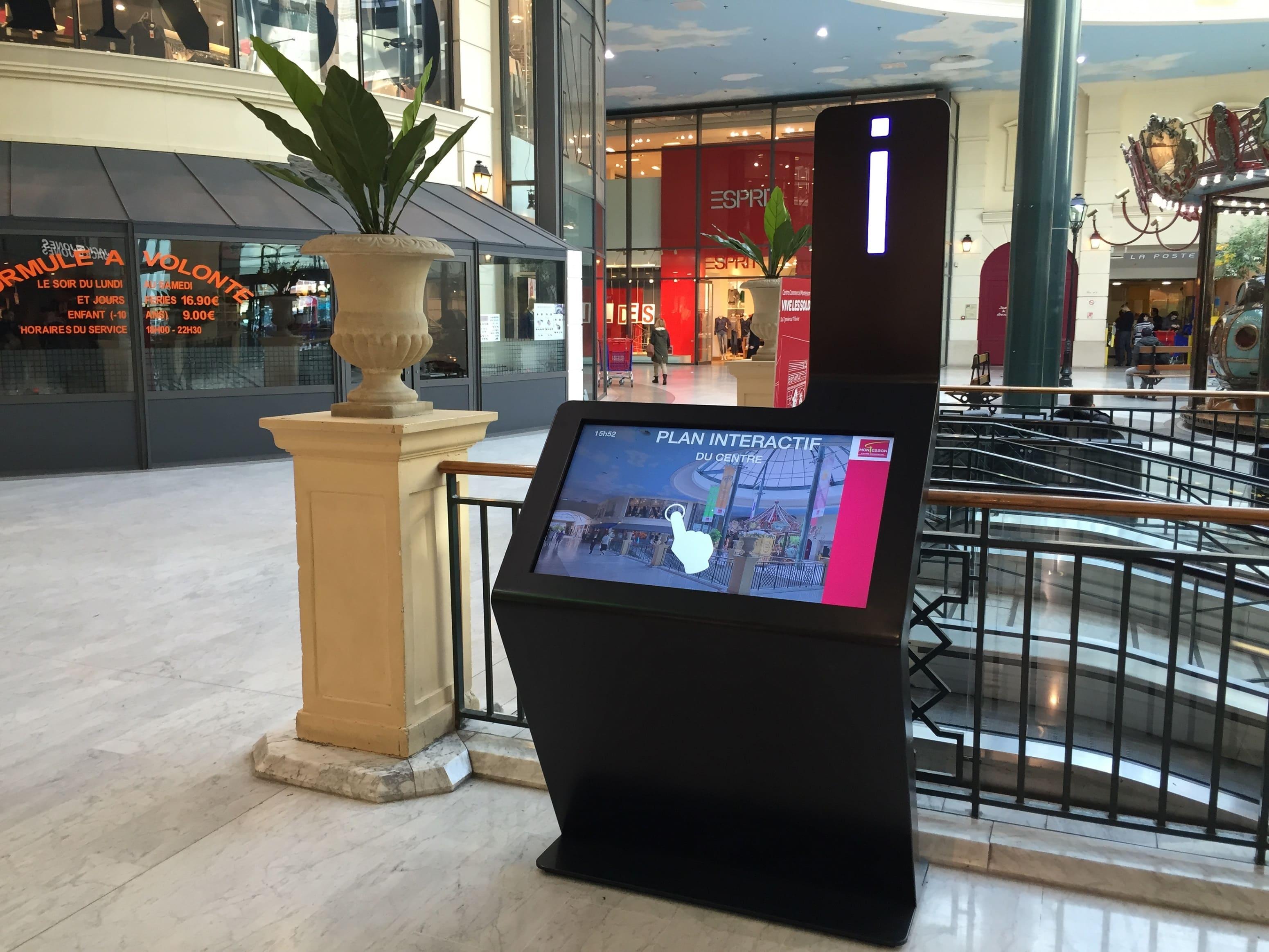 Borne tactile logiciel wayfinder centre commercial